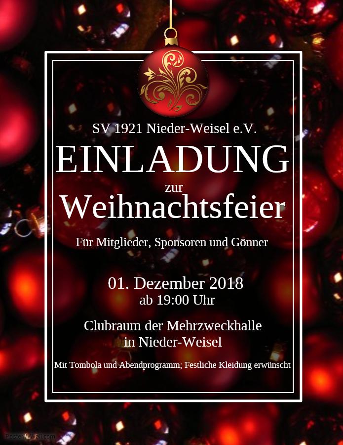 Einladung Weihnachtsfeier Verein.Einladung Weihnachtsfeier 2018 Sv 1921 Nieder Weisel E V